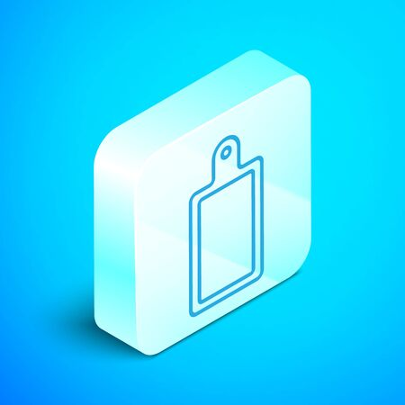 Isometric line Cutting board icon isolated on blue background. Chopping Board symbol. Silver square button. Vector Illustration