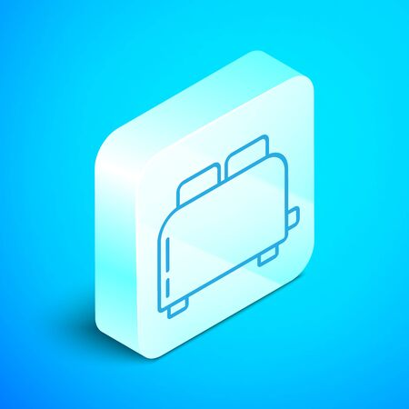Isometric line Toaster with toasts icon isolated on blue background. Silver square button. Vector Illustration