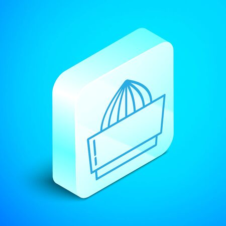 Isometric line Citrus fruit juicer icon isolated on blue background. Silver square button. Vector Illustration Ilustracja