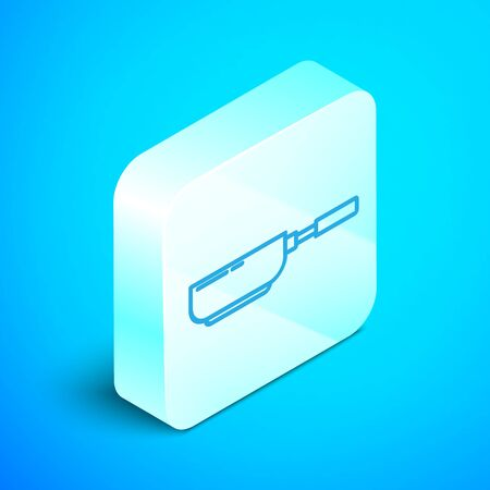 Isometric line Frying pan icon isolated on blue background. Fry or roast food symbol. Silver square button. Vector Illustration