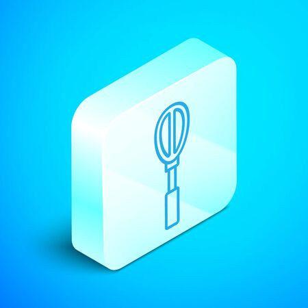 Isometric line Kitchen whisk icon isolated on blue background. Cooking utensil, egg beater. Cutlery sign. Food mix symbol. Silver square button. Vector Illustration