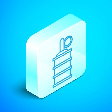 Isometric line Hand grenade icon isolated on blue background. Bomb explosion. Silver square button. Vector Illustration