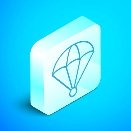 Isometric line Parachute icon isolated on blue background. Silver square button. Vector Illustration