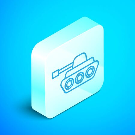 Isometric line Military tank icon isolated on blue background. Silver square button. Vector Illustration