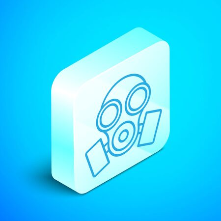 Isometric line Gas mask icon isolated on blue background. Respirator sign. Silver square button. Vector Illustration