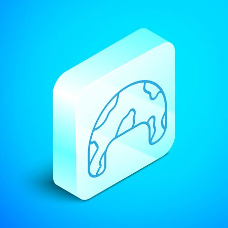 Isometric line Military helmet icon isolated on blue background. Army hat symbol of defense and protect. Protective hat. Silver square button. Vector Illustration 向量圖像