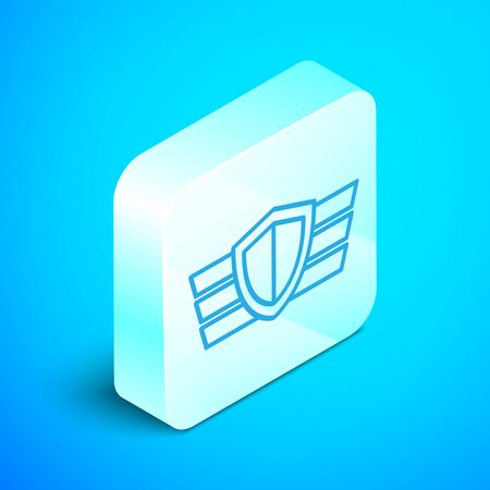 Isometric line Military reward medal icon isolated on blue background. Army sign. Silver square button. Vector Illustration