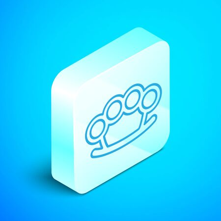 Isometric line Brass knuckles icon isolated on blue background. Silver square button. Vector Illustration Illusztráció