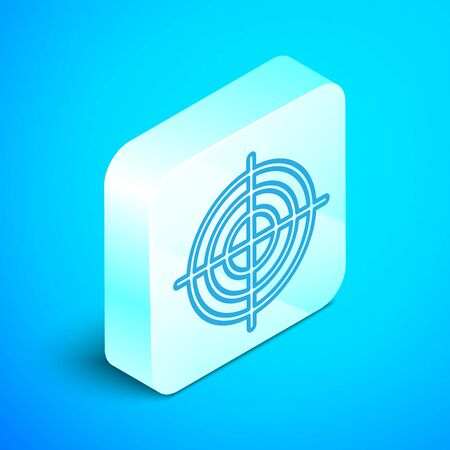 Isometric line Target sport for shooting competition icon isolated on blue background. Clean target with numbers for shooting range or shooting. Silver square button. Vector Illustration