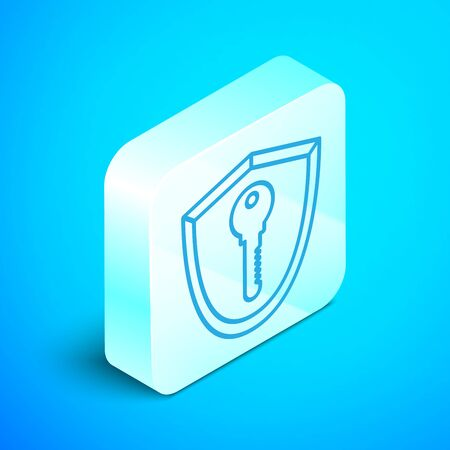 Isometric line Shield with key icon isolated on blue background. Protection and security concept. Safety badge icon. Privacy banner. Defense tag. Silver square button. Vector Illustration