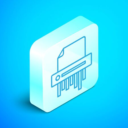 Isometric line Paper shredder confidential and private document office information protection icon isolated on blue background. Silver square button. Vector Illustration Illustration
