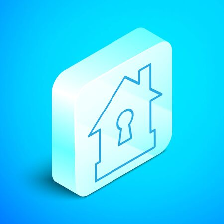 Isometric line House under protection icon isolated on blue background. Protection, safety, security, protect, defense concept. Silver square button. Vector Illustration