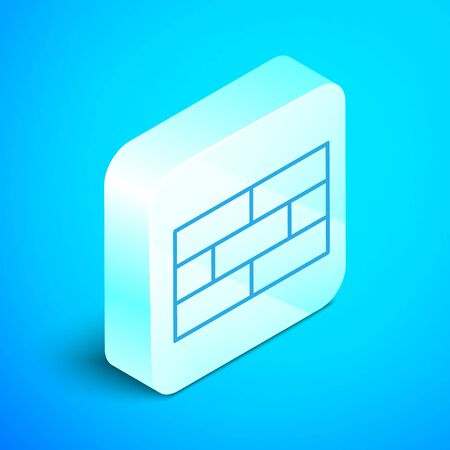 Isometric line Bricks icon isolated on blue background. Silver square button. Vector Illustration Standard-Bild - 133853292