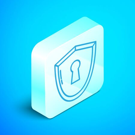 Isometric line Shield with keyhole icon isolated on blue background. Protection, security concept. Safety badge icon. Privacy banner. Defense tag. Silver square button. Vector Illustration