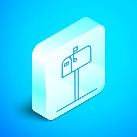 Isometric line Open mail box icon isolated on blue background. Mailbox icon. Mail postbox on pole with flag. Silver square button. Vector Illustration Illusztráció
