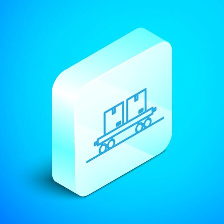 Isometric line Railway carriage icon isolated on blue background. Silver square button. Vector Illustration