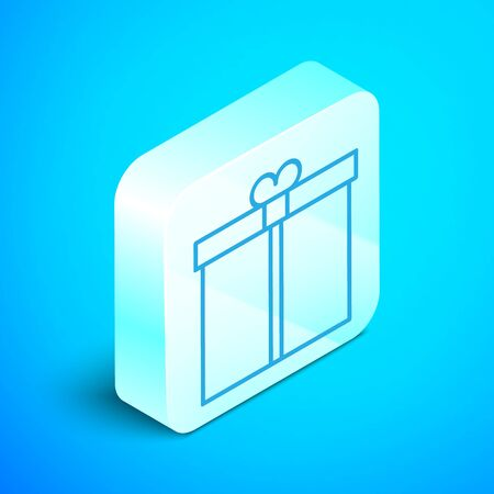 Isometric line Gift box icon isolated on blue background. Silver square button. Vector Illustration