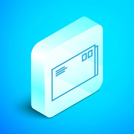Isometric line Envelope icon isolated on blue background. Email message letter symbol. Silver square button. Vector Illustration