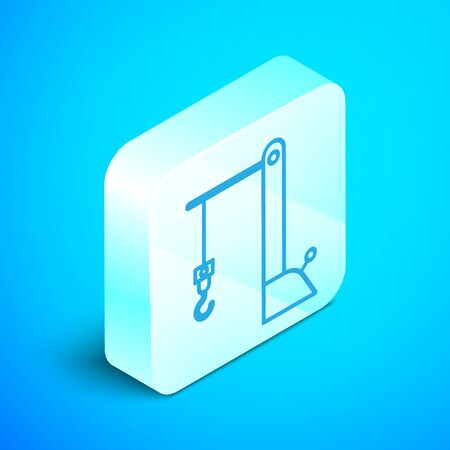 Isometric line Harbor port crane icon isolated on blue background. Cargo crane tower. Silver square button. Vector Illustration