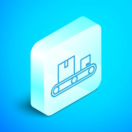 Isometric line Conveyor belt with cardboard box icon isolated on blue background. Silver square button. Vector Illustration Standard-Bild - 133853020
