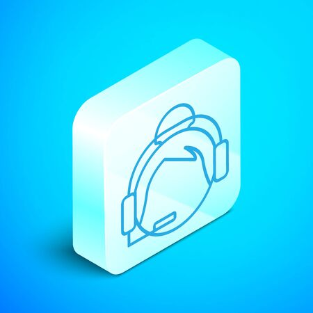 Isometric line Woman with a headset icon isolated on blue background. Support operator in touch. Concept for call center, client support service. Silver square button. Vector Illustration Standard-Bild - 133853374