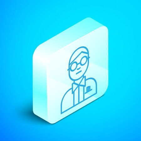 Isometric line Scientist icon isolated on blue background. Silver square button. Vector Illustration