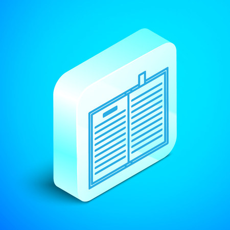 Isometric line Open science book icon isolated on blue background. Silver square button. Vector Illustration