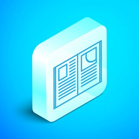 Isometric line Open book icon isolated on blue background. Silver square button. Vector Illustration