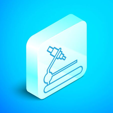 Isometric line Microscope icon isolated on blue background. Chemistry, pharmaceutical instrument, microbiology magnifying tool. Silver square button. Vector Illustration