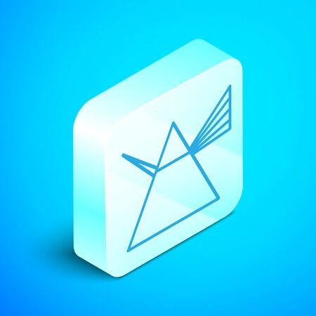 Isometric line Light rays in prism icon isolated on blue background. Ray rainbow spectrum dispersion optical effect in glass prism. Silver square button. Vector Illustration Foto de archivo - 133853383