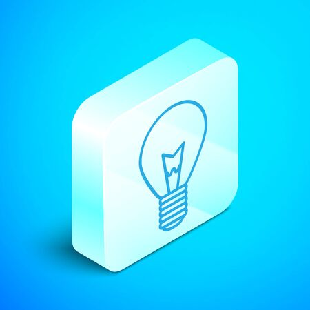 Isometric line Light bulb with concept of idea icon isolated on blue background. Energy and idea symbol. Inspiration concept. Silver square button. Vector Illustration