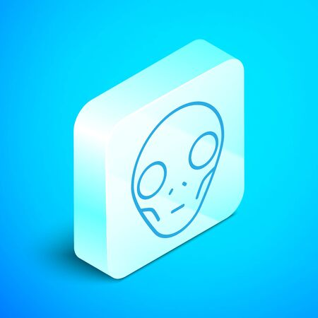 Isometric line Alien icon isolated on blue background. Extraterrestrial alien face or head symbol. Silver square button. Vector Illustration Illustration