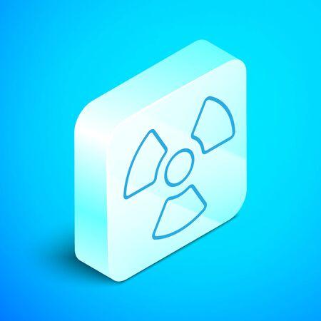 Isometric line Radioactive icon isolated on blue background. Radioactive toxic symbol. Radiation Hazard sign. Silver square button. Vector Illustration
