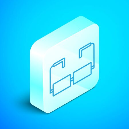 Isometric line Glasses icon isolated on blue background. Eyeglass frame symbol. Silver square button. Vector Illustration 스톡 콘텐츠 - 133853385