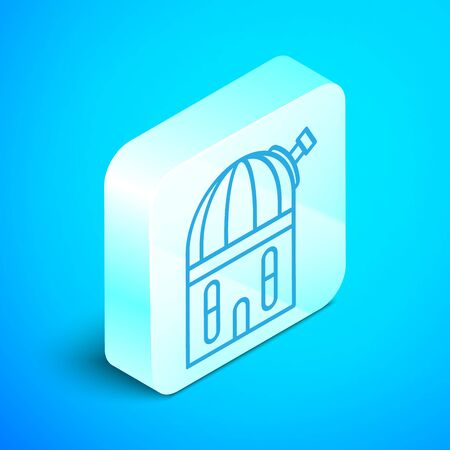 Isometric line Astronomical observatory icon isolated on blue background. Silver square button. Vector Illustration