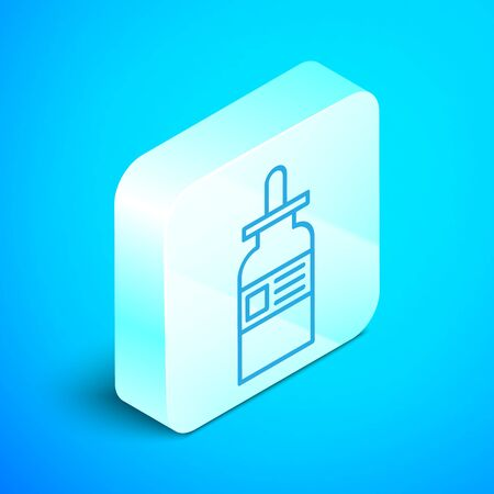 Isometric line Glass bottle with a pipette icon isolated on blue background. Container for medical and cosmetic product. Silver square button. Vector Illustration Illustration
