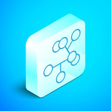 Isometric line Molecule icon isolated on blue background. Structure of molecules in chemistry, science teachers innovative educational poster. Silver square button. Vector Illustration