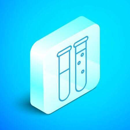 Isometric line Test tube and flask chemical laboratory test icon isolated on blue background. Laboratory glassware sign. Silver square button. Vector Illustration Stock Vector - 133853559