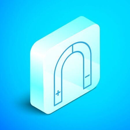 Isometric line Magnet icon isolated on blue background. Horseshoe magnet, magnetism, magnetize, attraction. Silver square button. Vector Illustration 向量圖像