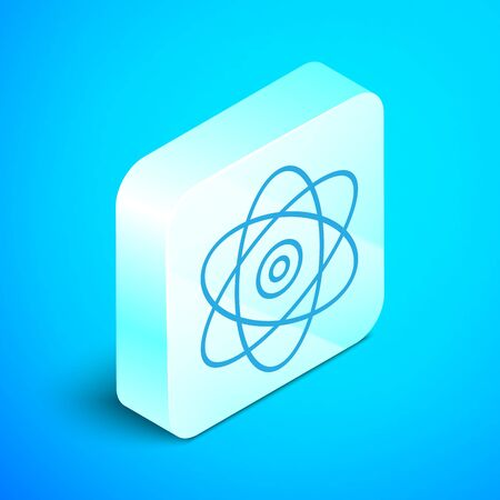 Isometric line Atom icon isolated on blue background. Symbol of science, education, nuclear physics, scientific research. Electrons and protons sign. Silver square button. Vector Illustration