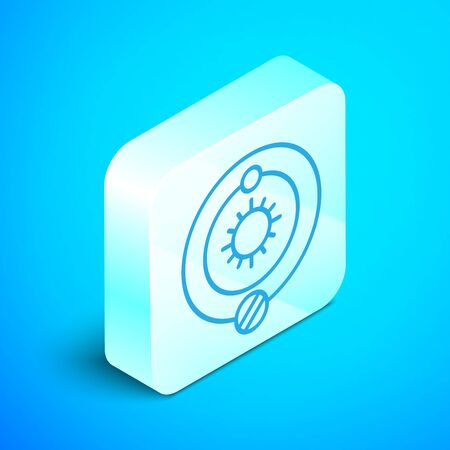 Isometric line Solar system icon isolated on blue background. The planets revolve around the star. Silver square button. Vector Illustration