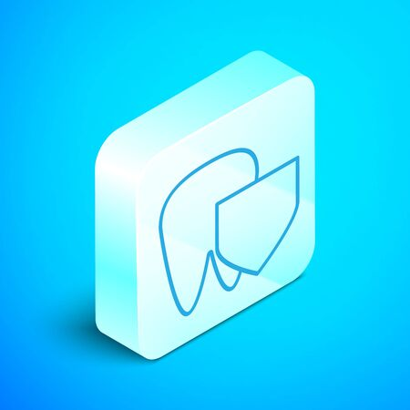 Isometric line Tooth with shield icon isolated on blue background. Dental insurance. Security, safety, protection, protect concept. Silver square button. Vector Illustration