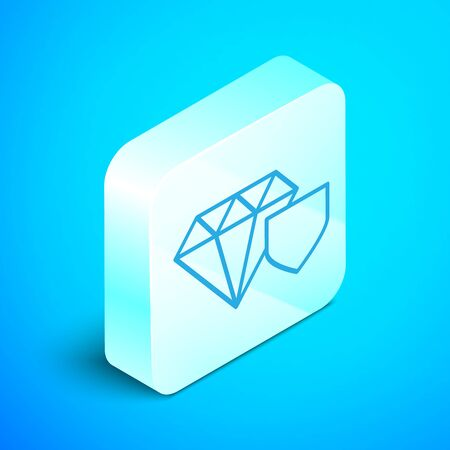 Isometric line Diamond with shield icon isolated on blue background. Jewelry insurance concept. Security, safety, protection, protect concept. Silver square button. Vector Illustration Illusztráció