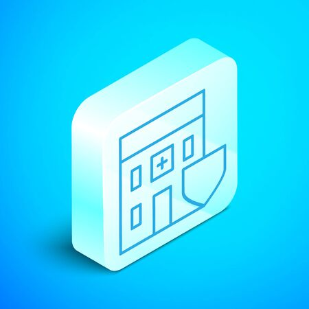 Isometric line Medical hospital building with shield icon isolated on blue background. Medical insurance. Security, safety, protection concept. Silver square button. Vector Illustration Standard-Bild - 133853626