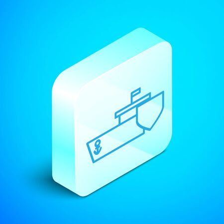 Isometric line Ship with shield icon isolated on blue background. Insurance concept. Security, safety, protection, protect concept. Silver square button. Vector Illustration