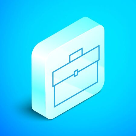 Isometric line Briefcase icon isolated on blue background. Business case sign. Business portfolio. Silver square button. Vector Illustration Standard-Bild - 133853641