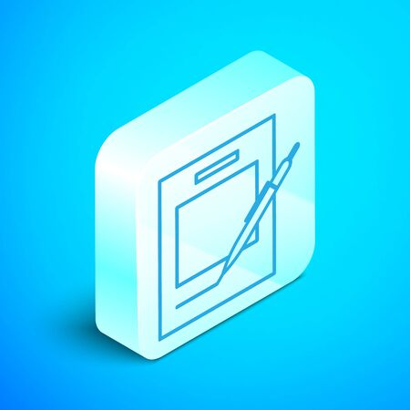 Isometric line Blank notebook and pen icon isolated on blue background. Paper and pen. Silver square button. Vector Illustration
