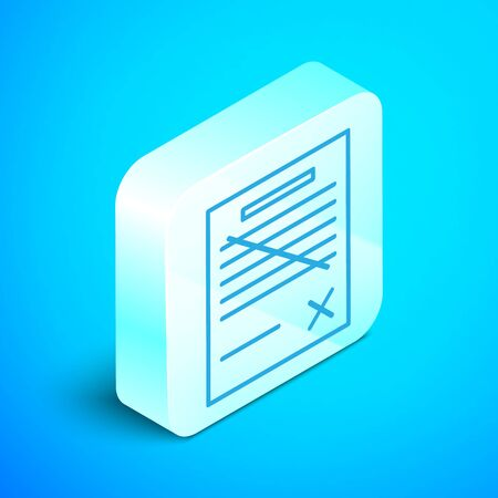 Isometric line Delete file document icon isolated on blue background. Rejected document icon. Cross on paper. Silver square button. Vector Illustration Stok Fotoğraf - 133853662