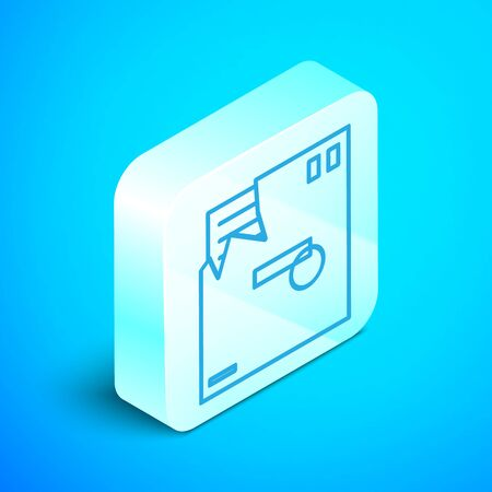 Isometric line Ordered envelope icon isolated on blue background. Email message letter symbol. Silver square button. Vector Illustration Illusztráció
