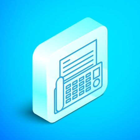 Isometric line Fax machine icon isolated on blue background. Office Telephone. Silver square button. Vector Illustration Illustration